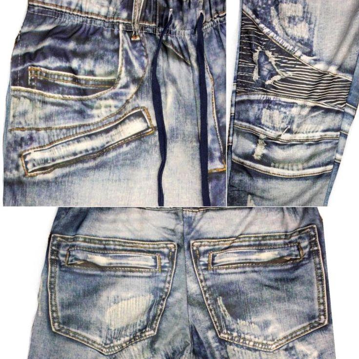 3D Denim Jean Pantalón Deportivo para Hombre Elástico con Cintura y entrepierna baja de sarga Pantalones de sudor pantalones
