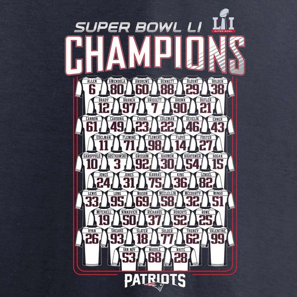 891a0afbed7 ... New England Patriots Pro Line by Fanatics Branded Super Bowl LI  Champions Roster T-Shirt .