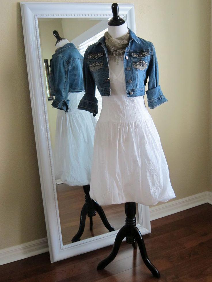 white dress with denim jacket   Thelma Cropped Denim Jacket