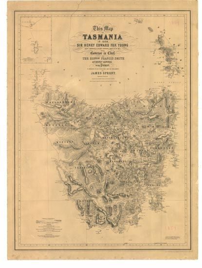 Soon to be on my wall! Looking for a nice frame. Reproduction of Sprent map of Tasmania from 1859