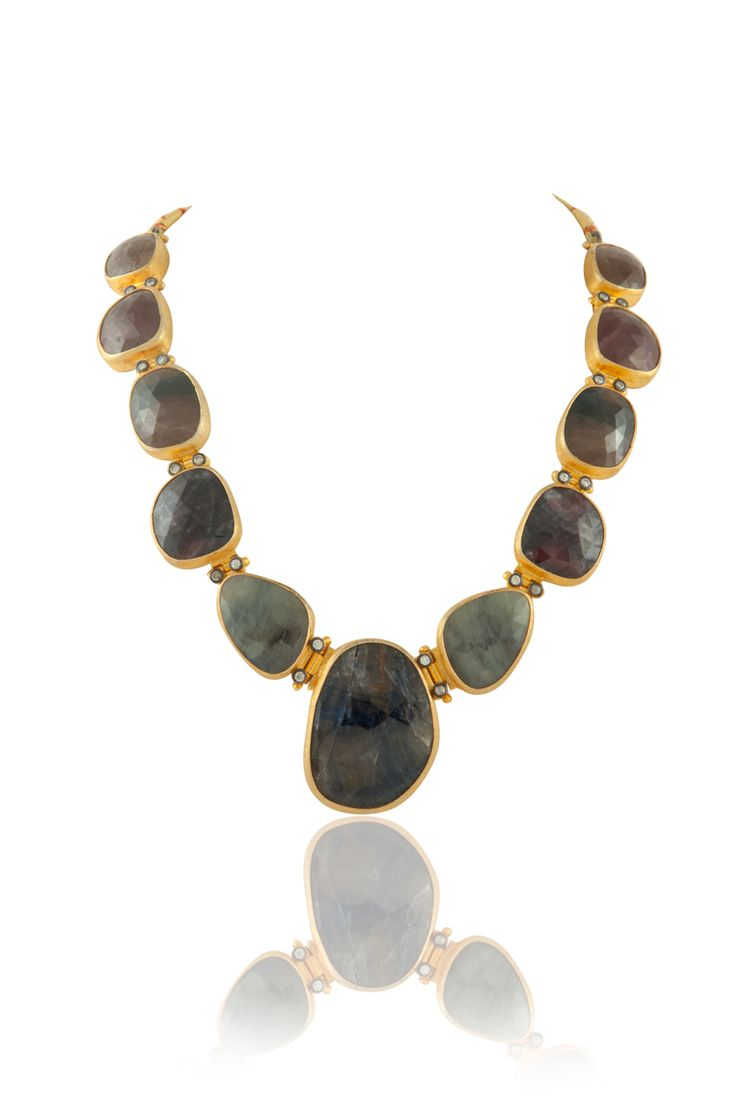 Handmade coloured stones necklace in gold plating. Item number J15-222