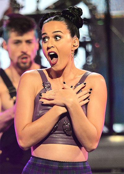 Katy Perry is surprised by the crowd as she performs onstage during the iHeartRadio Music Festival at the MGM Grand in Las Vegas on Sept.20,2013