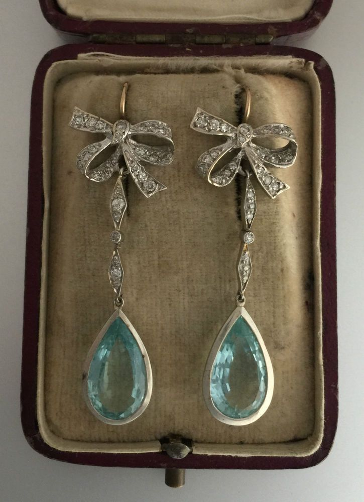 A Magnificent Pair Of Diamond & Aquamarine Earrings Circa 1900's