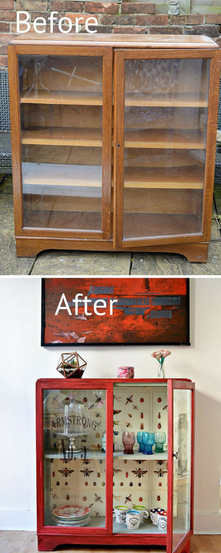 Furniture flip using the best chalk paint Annie Sloan Red Emperor's Silk and decoupage vintage graphics.