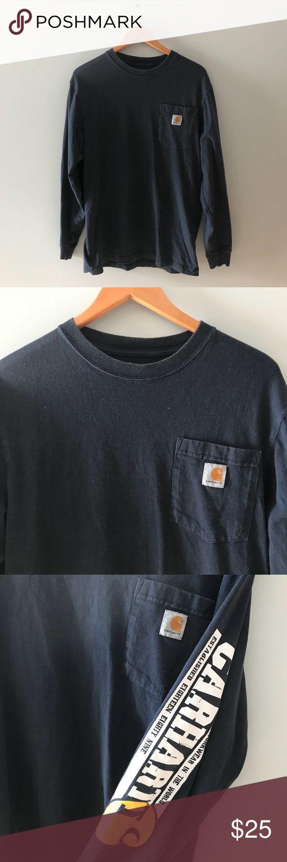 "Carhartt Long Sleeve Spell Out T Shirt Carhartt Spell Out T Shirt with pocket, the logo featured on the pocket, and the name ""carhartt"" on sleeve.   Chest: 18"" Length: 27""  Small / medium Carhartt Shirts Tees - Long Sleeve"