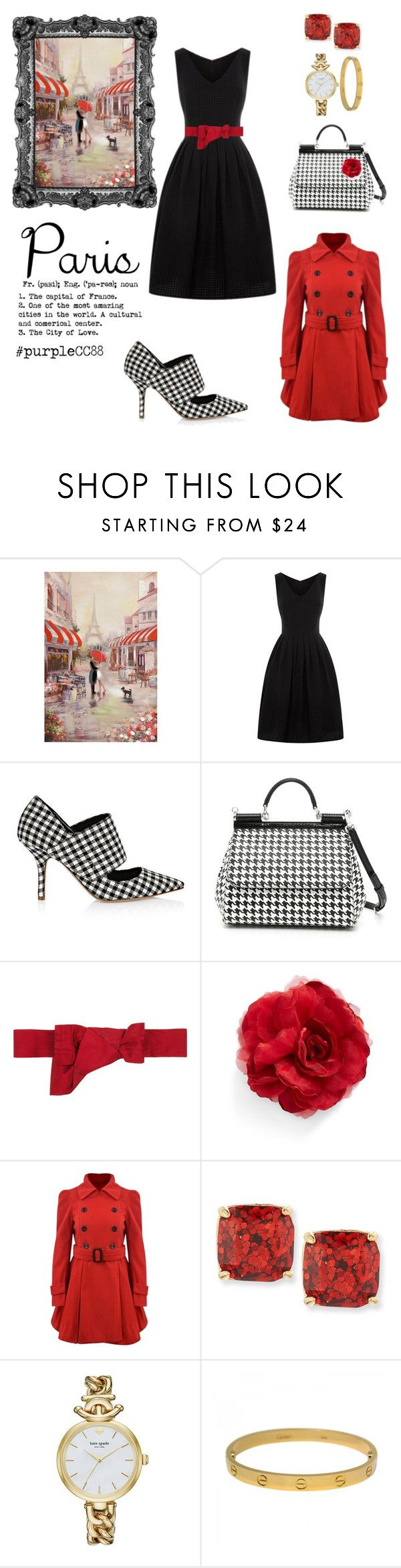 """""""Paris - Chic Style"""" by purplecc88criss on Polyvore featuring Erika Cavallini Semi-Couture, Dolce&Gabbana, Valentino, Cara, Kate Spade and Cartier"""