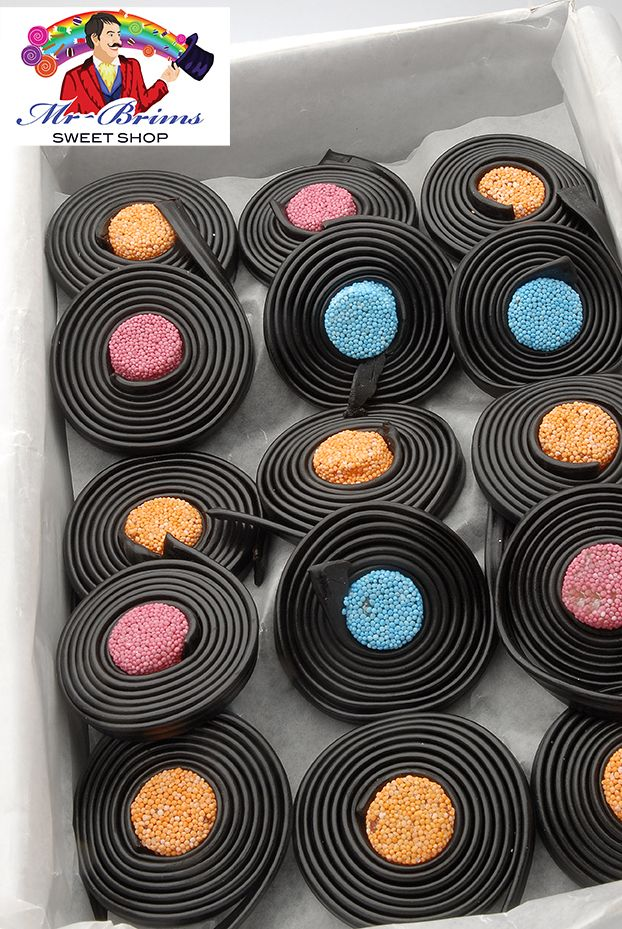 Liquorice Catherine Wheels   www.mr-brims.com www.facebook.com/mrbrims