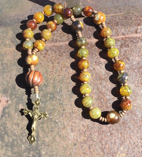 ODG  Green Fire Agate Anglican Rosary  Protestant Prayer Beads    Suffering Servant