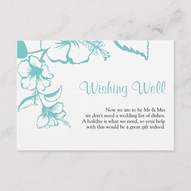 Turquoise Hibiscus Beach Wedding Wishing Well Enclosure Card | Zazzle.com  – Creative Art Logo Typography