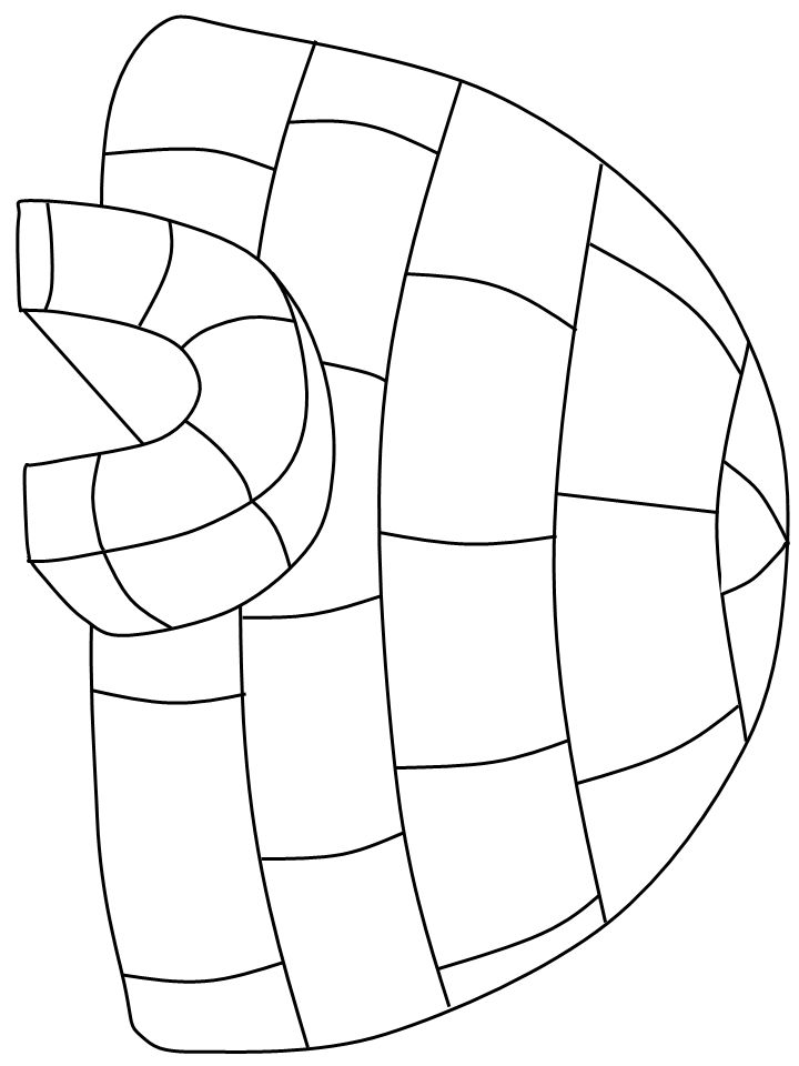 pattern for igloo puzzle page - Baby Arctic Animals Coloring Pages