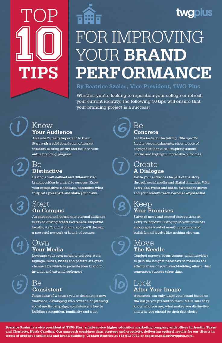 twg plus top 10 brand tips infographic for colleges and