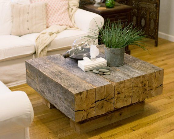Reclaimed Lumber Beam Coffee Table Etsy Diy Coffee Table