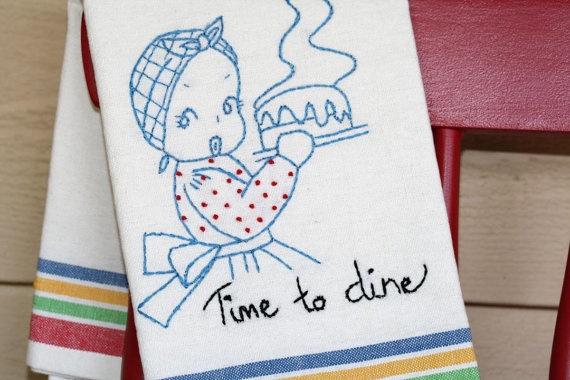 Like.  Retro look tea towel  Embroidered merry maid  on by redladybugz, $10.00