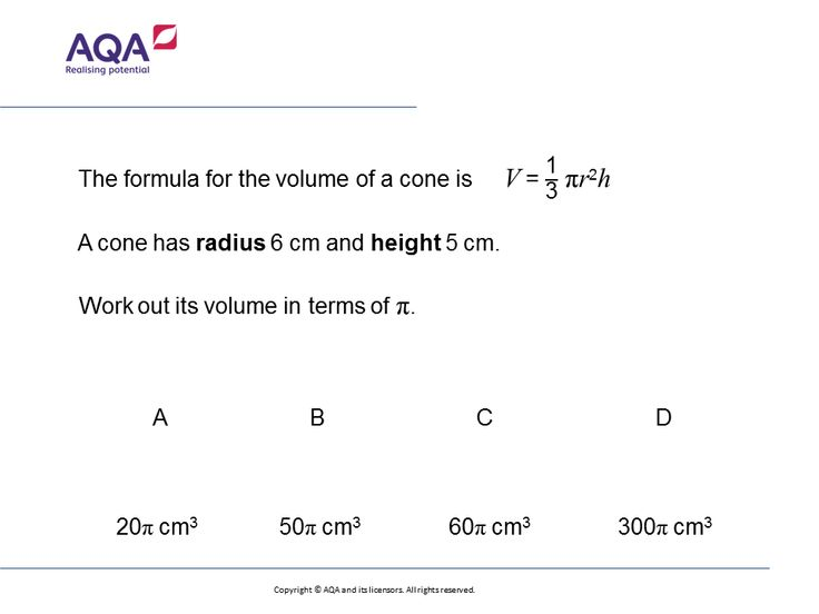 Volume of a Cone (Foundation/Higher): GCSE Maths Question of the Week on Mr Barton Maths