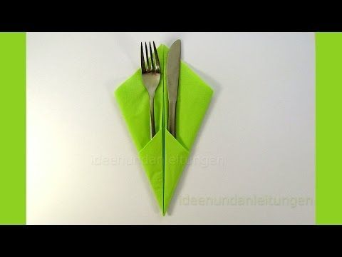 Servietten falten: Bestecktasche Falten - Einfache Tischdeko z.B. Hochzeit - YouTube