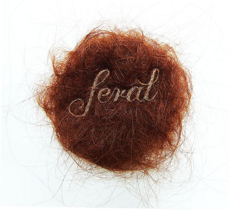 Feral by Kate Kretz embroidery on human hair
