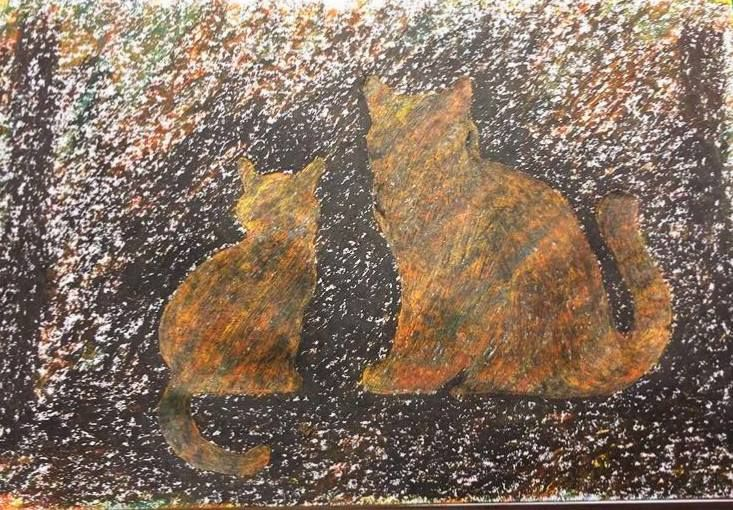 My first Sgraffito oil drawing!