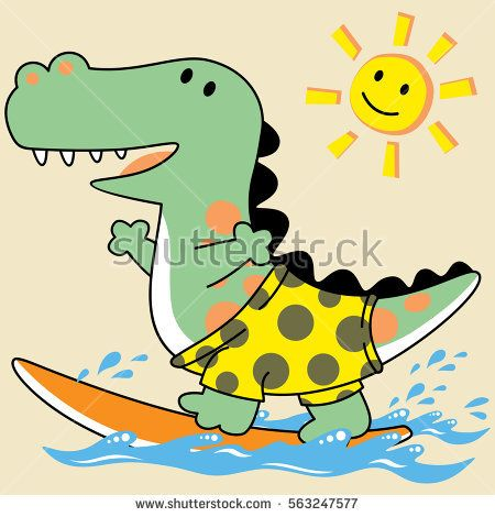 let's playing surfing with dinosaur, vector cartoon illustration