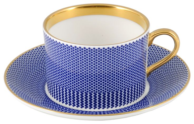 'Benday Cobalt' Coffee Cup & Saucer, hand finished with 22kt Gold gilding. Stunning piece for your favourite cup of coffee, tea, hot chocolate or whatever takes your fancy. Hand made in Stoke-on-Trent, England. A collection that is inspired by Benjamin Day: 'our homage to the dot'. Handwash Only, Fine Bone China. Find out more here: https://thenewenglish.co.uk/collections/benday-cobalt #TheNewEnglish #Benday #Cobalt