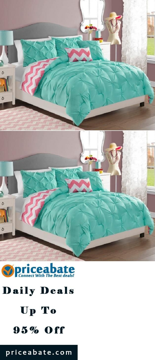 #Priceabate TEEN GIRLS Turquoise Pink White REVERSIBLE PINTUCK CHEVRON Comforter SET TWIN - Buy This Item Now For Only: $89.99