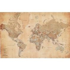 Amazon.com: Vintage World Map Maps Giant Poster Print, 55x39 College Giant Poster Print, 55x39: Home & Kitchen