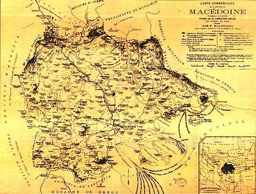 The economic map of Macedonia, created by F. Bianconi (Paris 1885), where Macedonia is presented within its ethnic and geographical boundaries, including all cities and villages with their population figures