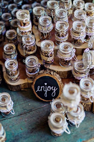 Edible Southern wedding favor idea - toasted pecans in glass jars {Andie Freeman Photography}