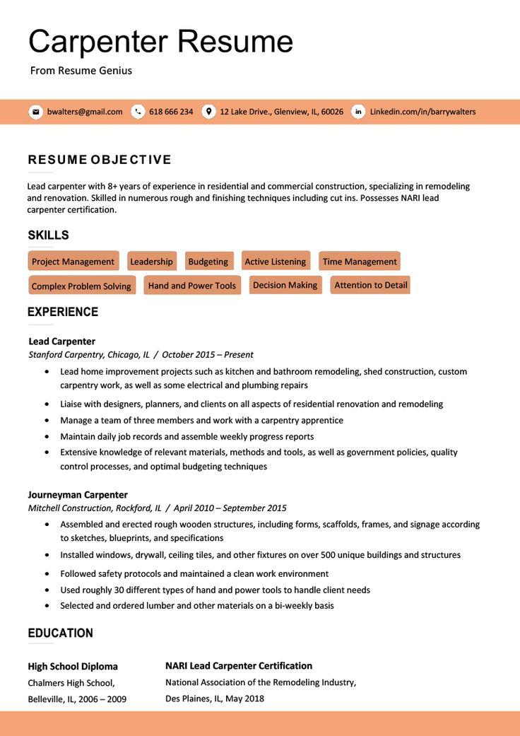 union carpenter resume sample