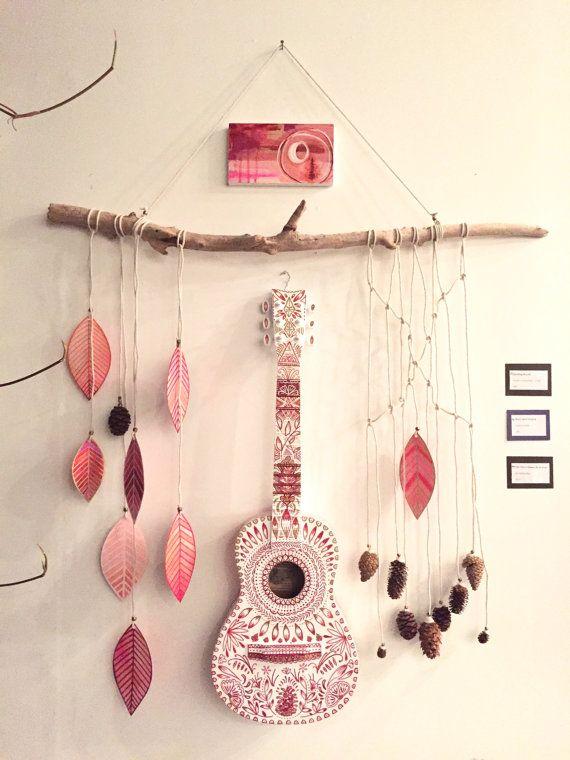 Folk Art peint guitare  L'arbre est connu par par RachaelRiceArt