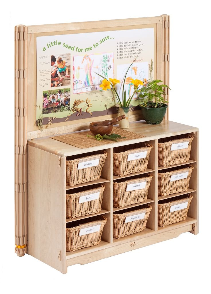 Storage and display for Reggio classrooms.