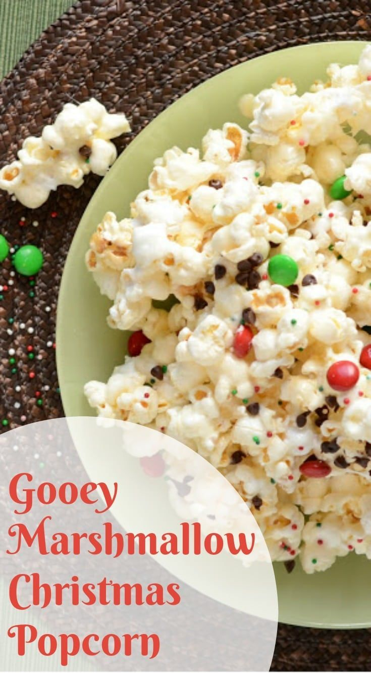 Christmas Popcorn Recipes.Gooey Marshmallow Christmas Popcorn With Chocolate