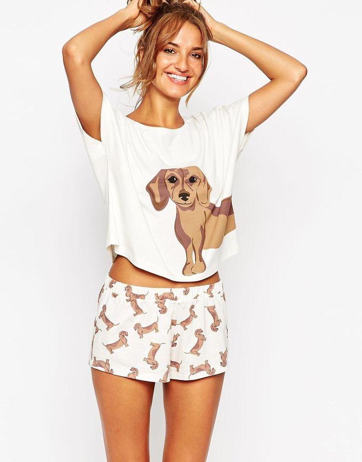 ASOS | ASOS Sausage Dog Tee & Short Pyjama Set at ASOS