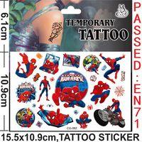 Новинка татуировки мальчики-паук мультфильм временные татуировки наклейки для рождения детей ну вечеринку украшения поставки
