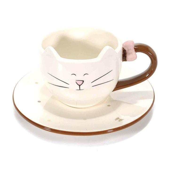 gattosa tazza con piattino    www.gattosi.com