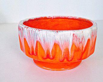 vintage midcentury orange drip glazed round ceramic planter