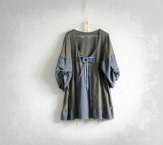 Plus Size Clothing Green Shabby Top Puffy Sleeves Women's Rustic Clothes Boho Eco Fashion Low Neckline Loose Fitting Shirt 2X 3X 'MAXINE'