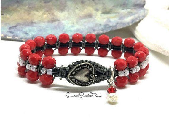 Red Heart Bracelet Beaded Macrame Bracelet Red Bracelet BY SUNSET SOUTHPAW #fashion #style #gifts #valentinesday #bracelet #beadedbracelet #handmade #jewelry #heart #Etsy #sunsetsouthpaw #gifts