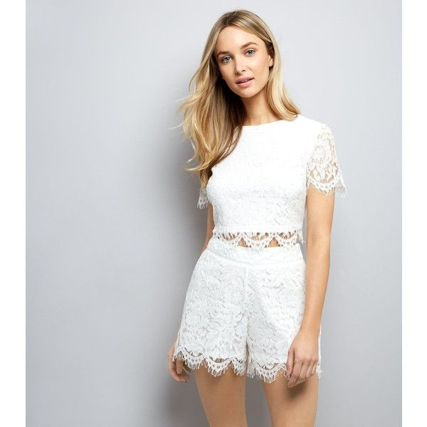 New Look White Lace Shorts (£20) ❤ liked on Polyvore featuring shorts, cream, lace shorts, lacy shorts, new look shorts, cream shorts and party shorts