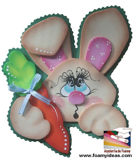 Rabbit fridge magnet. Hand made from foam. You can fix a note on your refrigerator with such a sweet rabbit:) Conejo imán para la nevera para poner notas, recordatorios etc. Hecho de foamy. Videotutorial y molde: http://www.foamyideas.com foamyideas@gmail.com