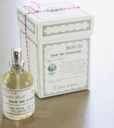 Barr-co. Apothecary Eau De Parfum Cologne Spray. Blend of Milk, Oatmeal, Vanilla and Vetiver creates a lovely and tranquil scent. Packaged in a beautiful gift box, wrapped with Baker's Twine. Hand crafted, made in the USA. 1.75 oz, 50ml.