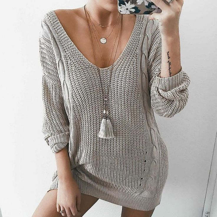 V-neck Cable Knit Loose Women Pullover Oversized Sweater Dress  #model #streetst... 2