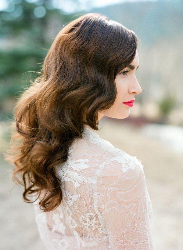 vintage long wavy half down wedding hairstyle
