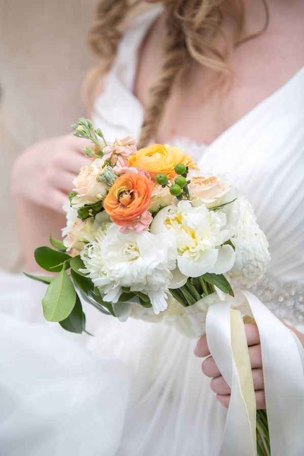 A Petite Bouquet in Orange, Yellow, and White | Amy Allen Photography | See More! http://heyweddinglady.com/french-country-chic-wedding-style/
