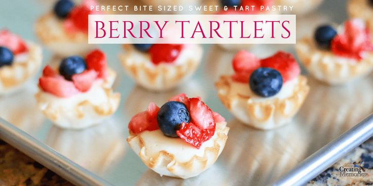 The perfect Red, White and Blue bite-sized pastry sweets! This Berry Tartlet recipe with fresh fruit is the best summer dessert for any Patriotic gathering.