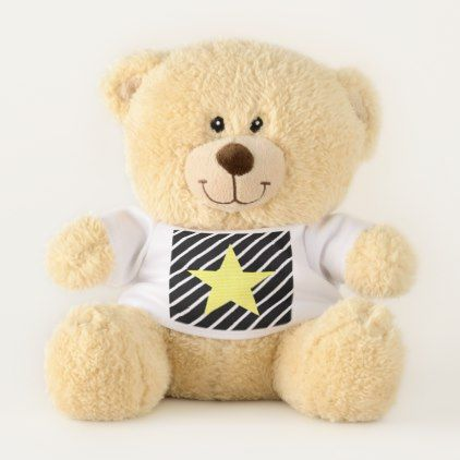 Star - geometric pattern - yellow and black. teddy bear - Xmas ChristmasEve Christmas Eve Christmas merry xmas family kids gifts holidays Santa