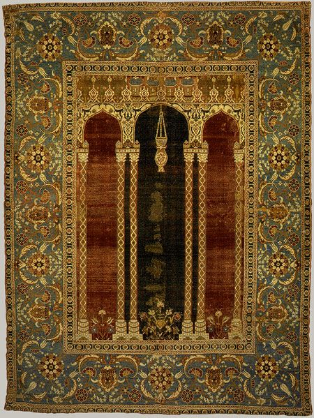 Prayer carpet, late 16th century; Ottoman  Attributed to Bursa or Istanbul, Turkey  Pile weave, wool and cotton pile on silk foundation, 288 asymmetrical knots per square inch
