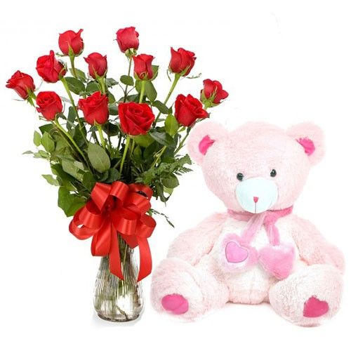 Red Rose with Soft cuddly Teddy. Gift this to the most loved person in your life! #RedRose #Bouquet #Teddy