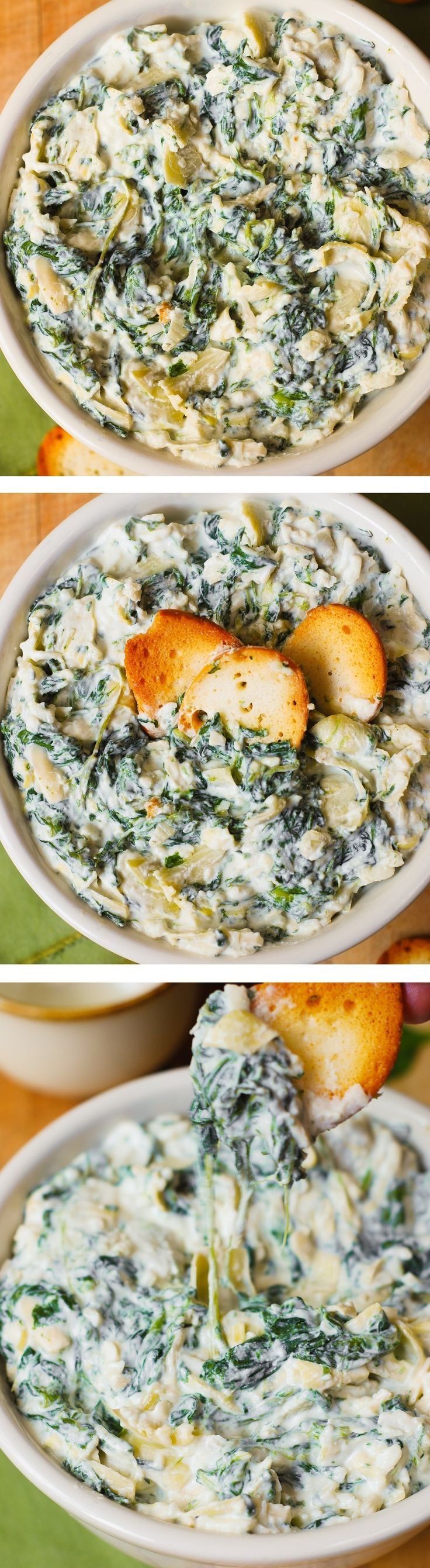 Easy Spinach Artichoke Dip – easy gluten free snack, with gluten free bagel chips!