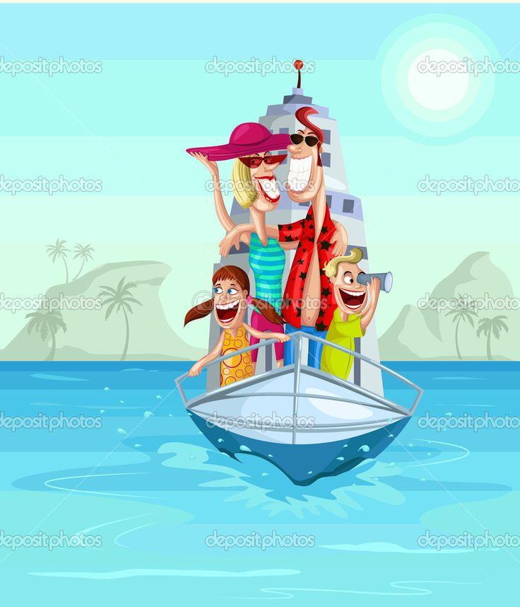 Счастливая семья на круиз — стоковая иллюстрация #42664343