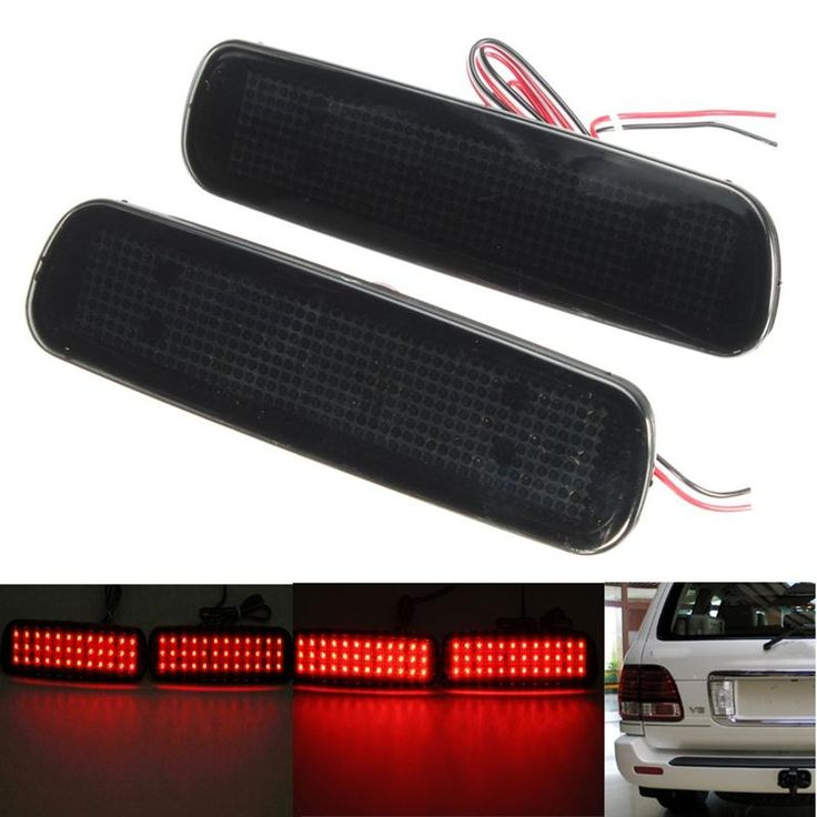 2Pcs Car Fog Red Lens Rear Bumper Reflector Tail Brake SMD LED Light Fog For Lexus LX470 Night Driving Run Brake Stop Lamp - $24.99